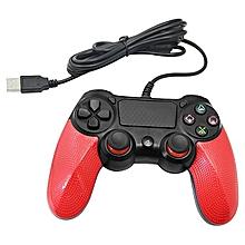 manette playstation 4 avec câble - rouge noir