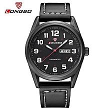 80207 marque de mode loisirs business series montres en cuir date calendrier hommes montres étanches