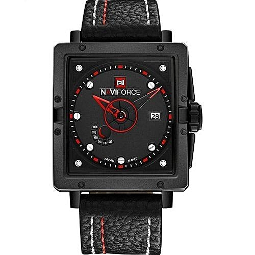 Date Cuir Luxe Cadrans Bracelet Montre Marque Homme Sports En Rectangle Étanche Montres Noir De Quartz Auto Rouge c4Aj35LqRS