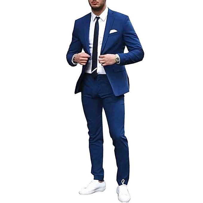 3b7823333cfc5 Ensemble Costume Bleu de Deux Pièces  Veste + Pantalon - Coupe près du corps