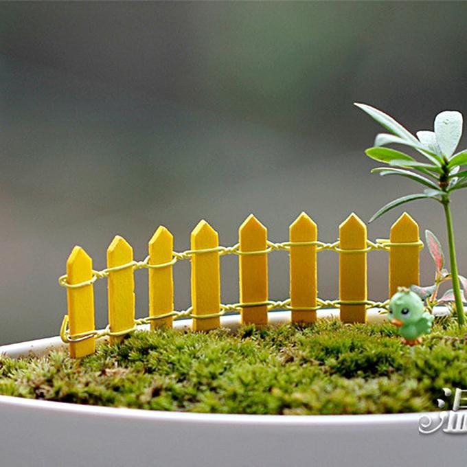 2pc Wood Fence Palisade Miniature Garden Home Decoration Mini Diy Craft Micro