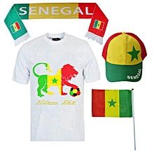 pack ndam rek: t-shirt manches courtes + écharpe + drapeau et casquette aux couleurs du sénégal - multicolore