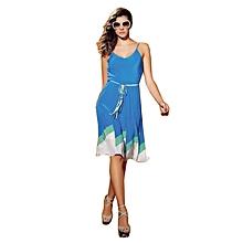 46bf5cdd0c76 Robe Courte sans manche pour femme - Bleu