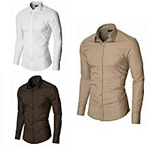 lot de 3 chemises_marron,beige,blanche-slim fit