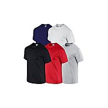 lot de 5 t-shirts - col rond - noir gris blanc bleu rouge