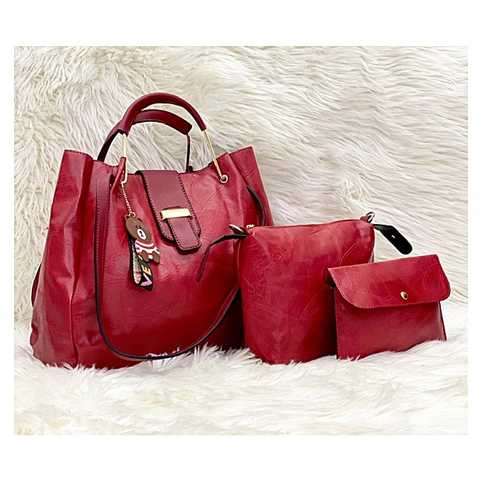 différemment 13bef ff601 Sac à Main Femme - Simili Cuir - 3 pièces - Rouge Bordeaux