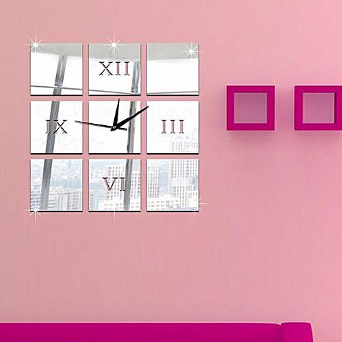 Classic 3d Diy Mirror Living Modern Design Home Room Decor Time Wall Clock Sl