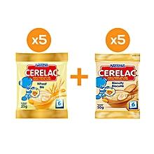 pack 5 sachets cerelac biscuité - 50 g + 5 sachets cerelac blé - 50 g