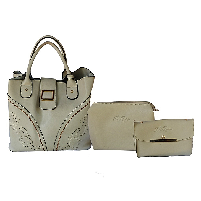 White Label Ensemble Sac à Main plus 2 pochette motif croco - Beig ... 2b2383172a7