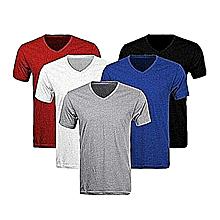 pack 5 t-shirts homme  coton - col v - manches courtes - gris, noir, bleu, blanc, rouge