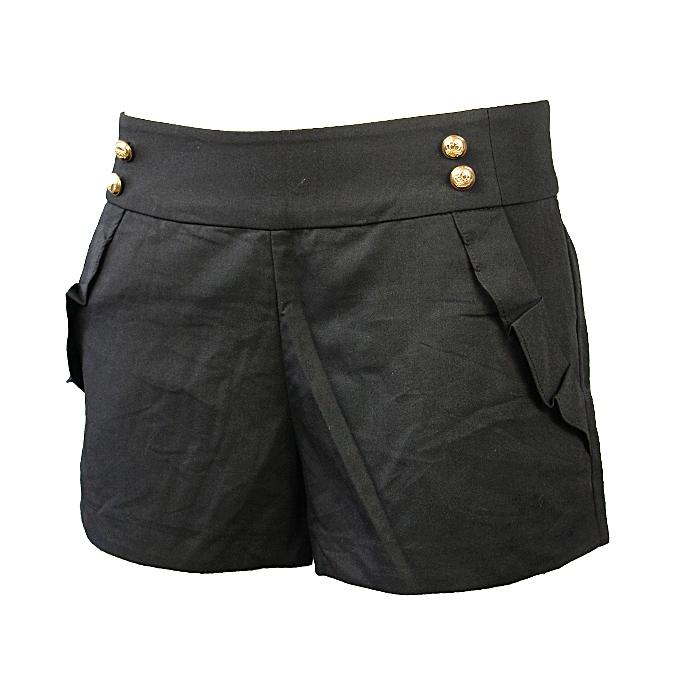 31f6f8bfdeadf5 Short Femme - Coton - Noir
