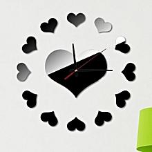 loving heart diy clock self adhesive interior wall creative decoration bk- black