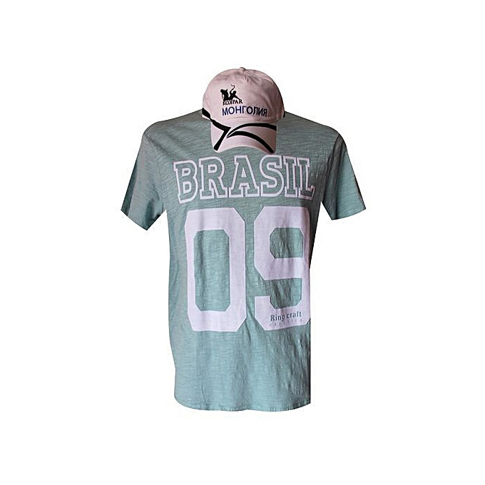 Col Tee BrasilCasquette 100Coton Homme Rond Blanche Shirt OZiTwukPX