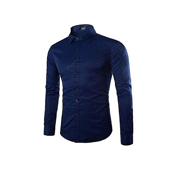 fe160af5a815e White Label Chemise Homme Slim Fit - Manches Longues - Bleu de Nuit ...