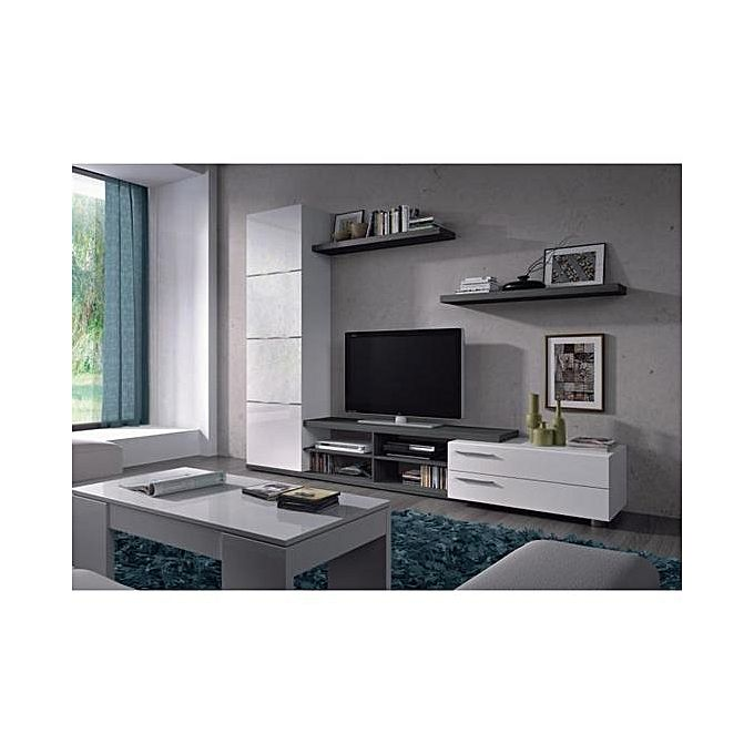 adhara meuble tv 2 tag res murales m lamin s l 240 cm blancs brillants et gris cendr. Black Bedroom Furniture Sets. Home Design Ideas