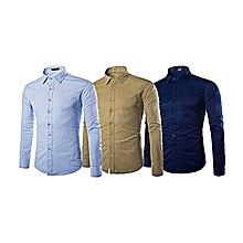 pack de 3 chemises homme - slim fit - beige, noir et bleu ciel