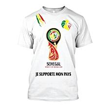 t-shirt coupe du monde sénégal en russie - blanc