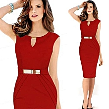 metal buckle small v-neck slim temperament pencil skirt large size dress-red