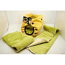 couches lavables taille 2 (4-8kg) couleur jaune : 1 culotte jaune + 3 inserts coloris divers