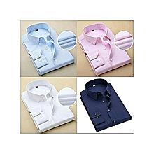 pack de 4 chemises pour homme - 100% coton - bleu ciel, blanc, rose et bleu de nuit