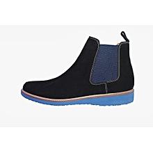 chaussure bottine en daim - noir