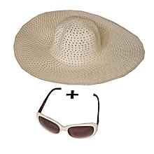 pack été chapeau en paille + lunettes - blanc