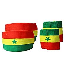pack de 2 brassards poignets + tête - vert/jaune/rouge