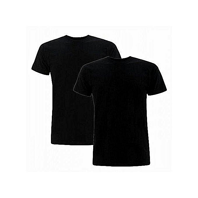 568af920ed479 White Label Pack 2 T-Shirts Homme - Col V - Courtes Manches - Noir ...