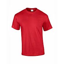 t-shirt coton - col rond - manches courtes - rouge