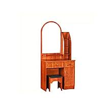 coiffeuse en bois formica marron - 1 miroir + 2 tiroirs + 1 placard et 1 tabouret
