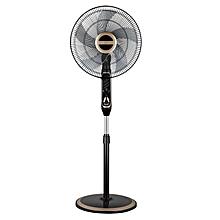 ventilateur sur pied - noir-doré - evernal + télécommande