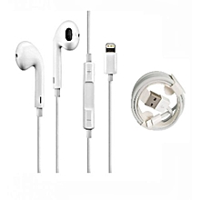 ecouteur iphone 7-8-x + cable original - blanc