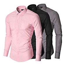 lot de 3 chemises slim fit - manches longues - noir, gris, rose