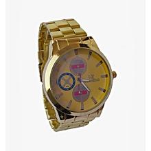 montre plaqué - bracelet  pour homme - doré