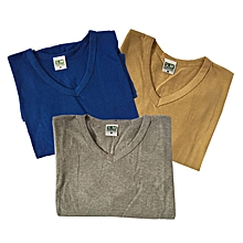 df108123b475e Pack 3 Tshirts Homme - Col V - Manches Courtes - Coton - Multicolore
