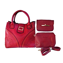 ensemble sac à main plus 2 pochette  - rouge