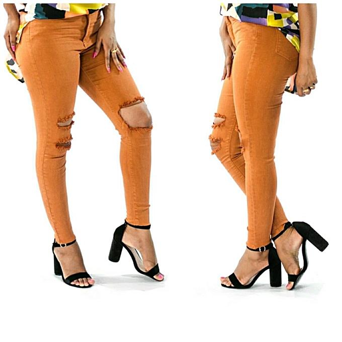 Jumia Jean Déchiré - Taille Haute - Orange - Prix pas cher   Jumia SN 2d270c75ef7f