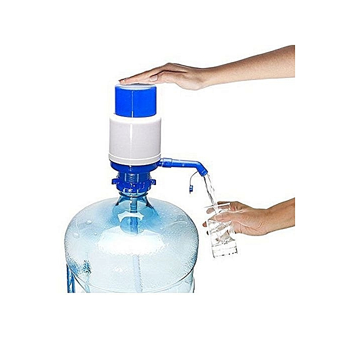Pompe eau manuelle bleu blanc pour bouteille 10 for Meuble a boisson