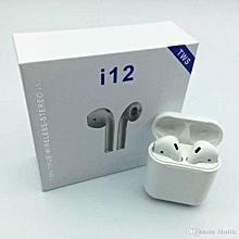 i12 tws - écouteurs stéréo bluetooth intra-auriculaires slim sans bouton et led seulement à l'allumage