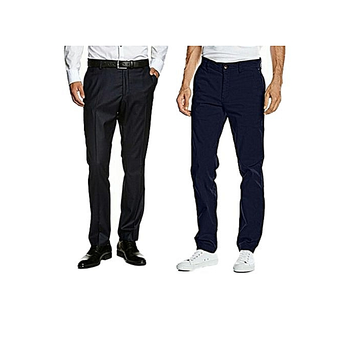 05f589eb8f55 Other Lot de Pantalon Super 100 + Chino Fit Homme Noir bleu de nuit ...