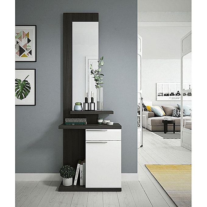meuble d 39 entr e avec miroir kendra gris cendre blanc brillant jumia s n gal tables hautes. Black Bedroom Furniture Sets. Home Design Ideas