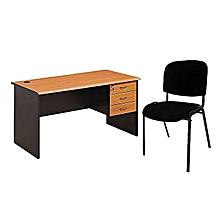 pack bureau de travail 120 x 60 cm bois et chaise de visiteur