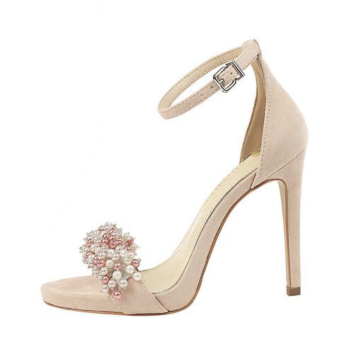 Fashion Women 11cm Ankle Strip Suede Heeled Sandals Pearl