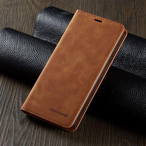 En Cuir de luxe S10E Flip étui pour samsung Galaxy S9 S8 S10 J4 J6 Plus A50 A70 A30 Note9 A6 A7 A8 2018 Aimant Portefeuille Housse Coque(Brown)