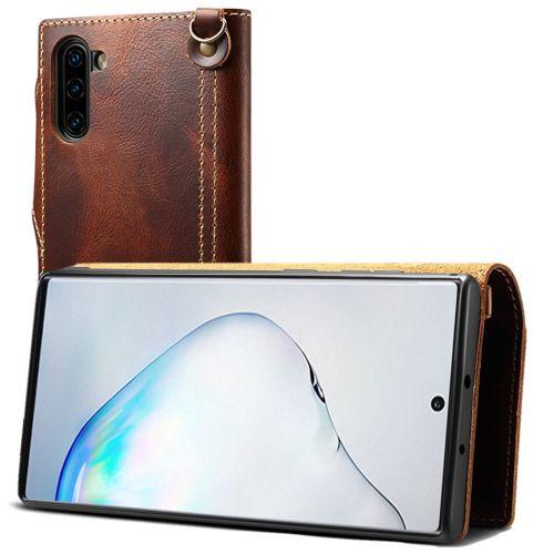 Véritable cuir de vachette étui pour iphone 11 Pro Max X XR XS 7 8 6 6s Plus portefeuille à rabat étuis pour samsung Note 10 9 8 S10 S9 S8 Plus(Brown)