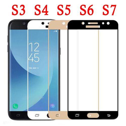 Protection verre pour Samsung Galaxy S7 S3 S4 S5 S6 Protection d'écran S 3 4 5 6 7 c 5 7 s Protection tremp verre trempé Protection(Color White)