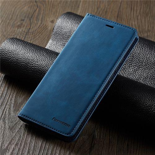 À Rabat En Cuir de luxe étui pour samsung Galaxy Note 9 S10 S9 S8 J4 J6 Plus E A6 A7 A8 2018 A30 A50 A70 Magnétique Portefeuille Housse de Support(Blue)