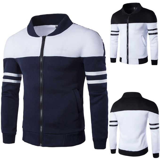 Mode Homme Automne Hiver Zipper Sportswear Patchwork Veste à manches longues Manteau