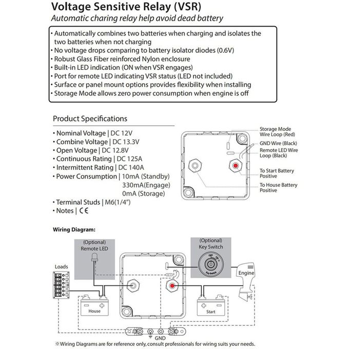 Voltage Relay 125A Black Voltage Sensitive Relay Dual Battery Isolator Switch Automatic Charging Relay VSR