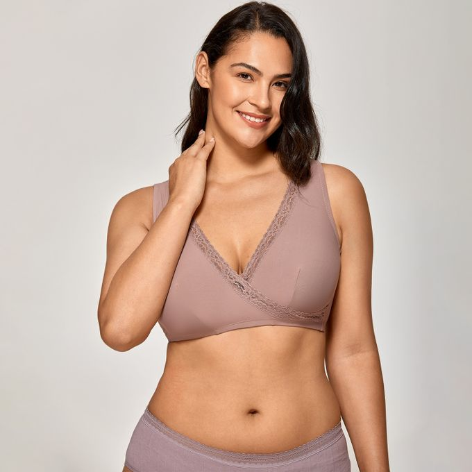Womens Plus Size Soft Cup Comfort Wirefree Sleep Lace Bra,Mochaccino07,C,46